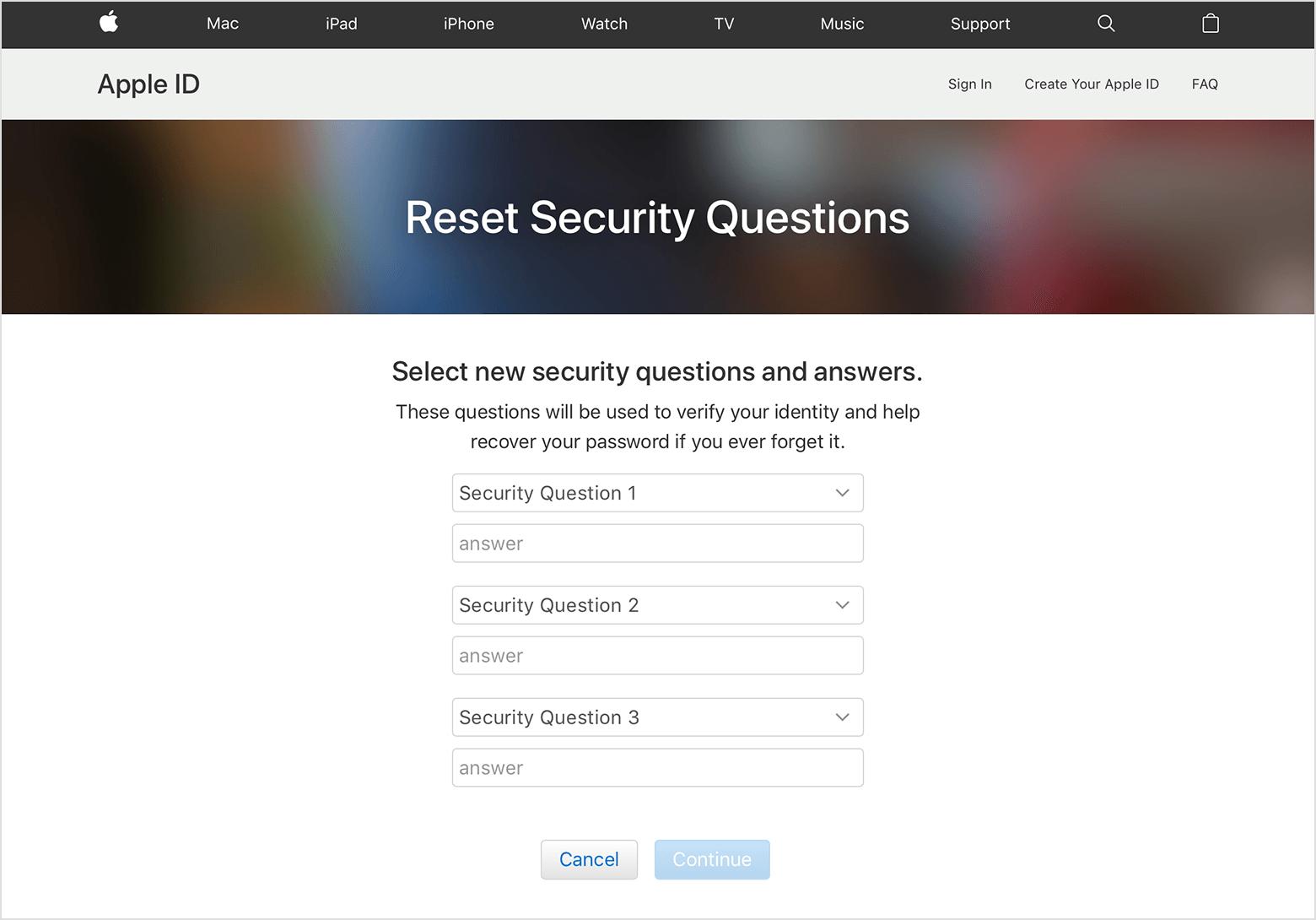 تغییر سوالات امنیتی اپل آیدی